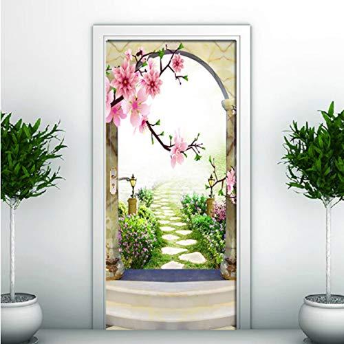 Arco de mármol Etiqueta de la puerta del camino del jardín Murales de la puerta 3D PVC Autoadhesivo Pegatinas impermeables Calcomanías de papel tapiz Decoración para el hogar Cartel 3D 90x200cm