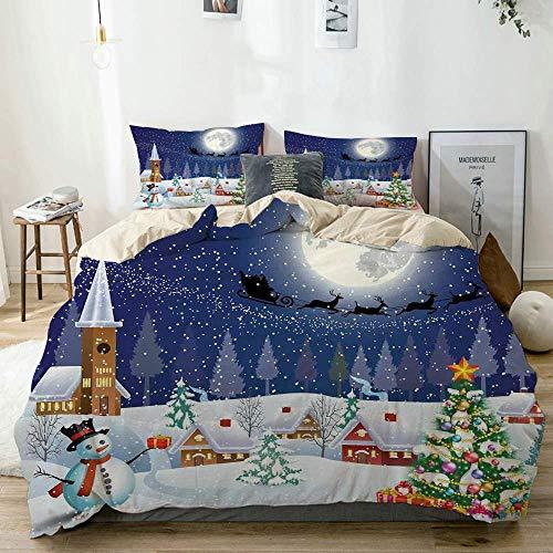 Duvet Cover Set Beige,ChristmasWinter Season Snowman Xmas Tree Santa Sleigh Moon Present Boxes Snow and Stars Blue White, Decorative 3 Piece Bedding Set with 2 Pillow Shams