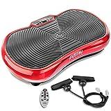 Fitfiu Fitness PV-100 - Plataforma vibratoria oscilante con potencia de 400W y 9 programas, Incluye cuerdas elásticas, óptimo para adelgazar con vibración y ejercicios musculares, color Rojo