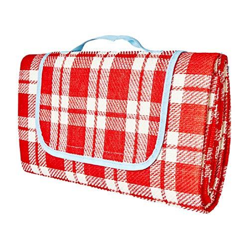 Rice Picknickdecke mit Unterseite, wasserdicht, Motiv Vichy, Rot und Weiß, 150 x 150 cm