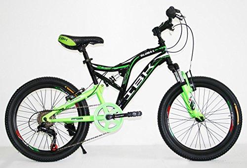 IBK Bici Bicicletta MTB 20' BIAMMORTIZZATA 6 Vel. Shimano Mountain Bike (Verde/Nero)