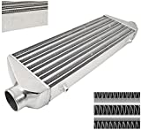 AJP Distributors Universal FMIC Front Mount Intercooler 27.5' X 7' x 2.375' Tube And Fin 2.5' Inlet Outet Performance High Flow Light Weight Aluminum Racing