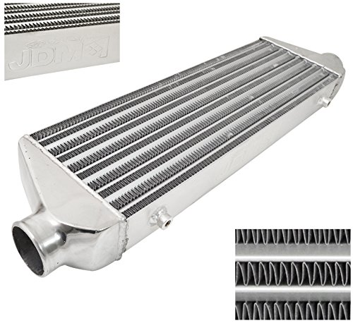AJP Distributors Universal FMIC Front Mount Intercooler 27.5' X 7' x 2.375' Tube And Fin 2.5' Inlet Outet Performance High Flow Light Weight Aluminum Racing