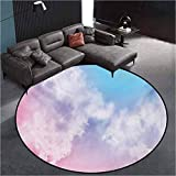 Pastel Modern Trellis Area Rug Round Rug Indoor/Outdoor Rug Fantasy Sky Abstraction Smoky Clouds Foggy Mystical Ethereal Composition Pale Pink Aqua White60 Inch