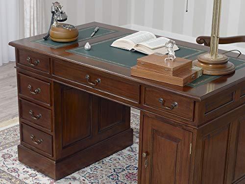 SIMONE GUARRACINO LUXURY DESIGN Partner Schreibtisch Victorian Englischer Stil Büro Doppelschreibtisch 130 cm walnuss Kunstleder grün