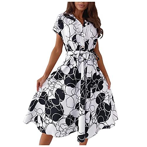 Liably Vestido de mujer retro con cuello de pico, con cordones, de manga corta, holgado, para la playa, de cintura alta, elegante, Y2k Blanco L