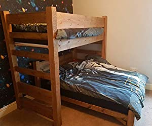 Handmade High Single And Low Double Bunk Bed Frame Which Can Be Separated