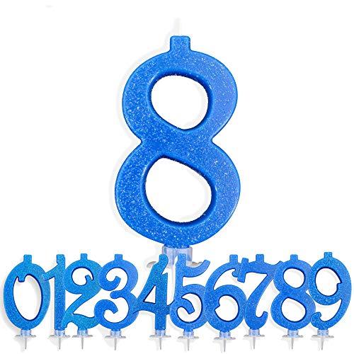 Candeline Compleanno Particolari Numeri Grandi BLU   Decorazione Torta Festa per Happy Birthday Bambino Ragazzo Uomo   Candele Topper Auguri Anniversario   Componi i tuoi Anni (Numero 8)