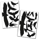 Finest Folia Pegatinas de protección contra aves, juego de 15 unidades, negras, para ventanas, jardines de invierno, casetas de cristal contra golpes de pájaros, pegatinas de siluetas K135