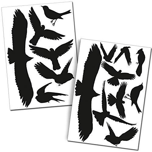 Finest Folia Vogelschutz Aufkleber Set 15 Stück Schwarz Fenster Wintergärten Glashäuser Glas gegen Vogelschlag Scheibenschutz Vogel Sticker Silhouetten K135