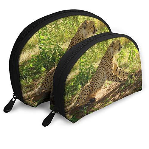 Cheetah Wild Animal Predator Animal Sit Portable Toiletry Bag Makeup Bag Portable Travel Bags Handbag Organizer with Zipper 2Pcs