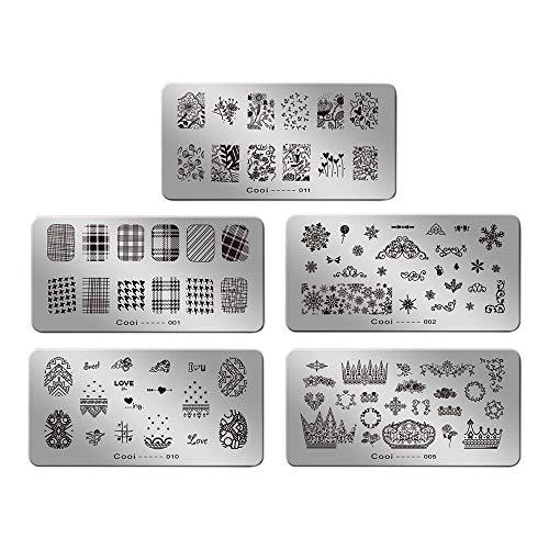 Beauty7 Tampons Vernis Stamping 5 Plaques Timbre Pochoir en Metal Image Designs Mixtes Impression Pour Ongle Manucure 01