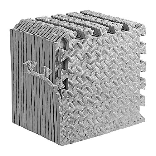 Dustgo Schutzmatten Set Bodenschutzmatte,rutschfeste Puzzlematte Bodenschutz Matte,18 stück Fitnessmatte Sportmatte Trainingsmatte Boden Schutz 30x30x1.2cm (Grau)