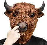 CreepyParty Fiesta de Disfraces de Halloween Máscara de Cabeza de Látex Animal Bisonte Yak Toro para Carnaval