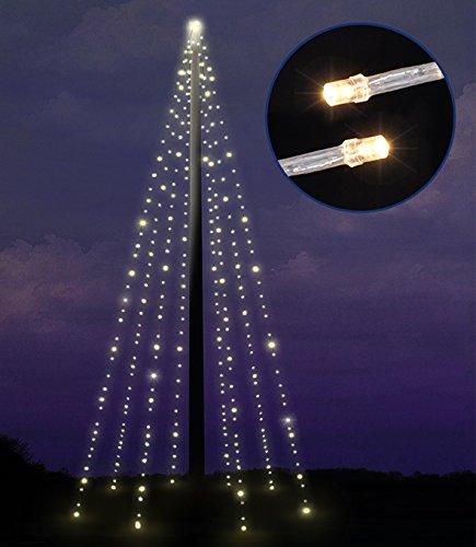 LED Beleuchtung für Fahnenstangen Lichterkette Fahnenmast mit 400 LED warmweiss, 8 Stränge 10 Meter, für Außen