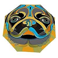 フレンチブルドッグアートデザイン 屋外UV保護防風セルフオープニング傘男性と女性のための防水傘三つ折り傘