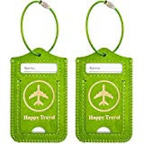WALNEW Luggage Tag- Initial Bag Tag with Stainless Steel Loop Suitcase Label 2 Pieces Set (Green, 2 Piece)