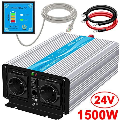 CARRYBATT Spannungswandler 1500W Wechselrichter Reiner Sinus 24V auf 230V mit 5 Meter Fernbedienung mit Dual-AC-Ausgängen & 2.1A USB-Anschluss -Spitzenleistung 3000 Watt
