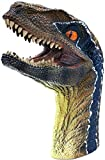 Gemini&Genius Velociraptor Dinosaur Hand Puppets Large Soft Rubber Realistic Jurassic World Park Dino Action Figure Funny & Scared Dino Head Hand Puppets Home, Stage and Class Role Play ( Blue-Green)
