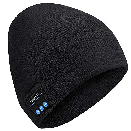 Bluetooth Beanie-Mens Gifts Bluetooth Hat Women's Slouchy Skull with Detachable Built-in Mic and HD Stereo Speakers for Hands-Free Call, Wireless Headphone Beanie for Music,Running, Skiing
