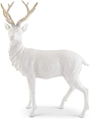 K&K Interiors 54287A-2 17.5 Inch Standing White Glittered Resin Deer w/Gold Antlers