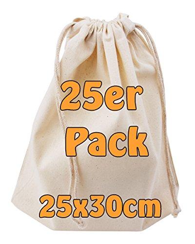 Cottonbagjoe Baumwollbeutel Stoffbeutel mit Kordelzug Lunchsack Kosmetikbeutel Sockenbeutel Schmucksäckchen Spielzeugtäschchen für Kleinigkeiten 25x30cm (Natur, 25 Stück)