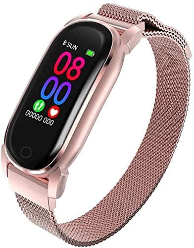 AMBM Reloj inteligente para mujer y hombre, con Bluetooth, frecuencia cardíaca, presión arterial, color blanco, oro rosa