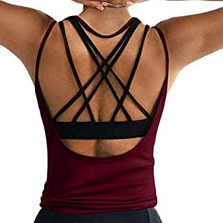 kolila Womens Yoga Tank Tops Sexy Backless Yoga Gym Quick Dry Shirts Open Back Activewear Running Sports Workout Clothes