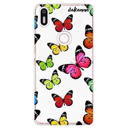 dakanna Funda Compatible con [ Bq Aquaris X5 Plus ] de Silicona Flexible, Dibujo Diseño [ Estampado de Mariposas Multicolor ], Color [Fondo Transparente] Carcasa Case Cover de Gel TPU para Smartphone