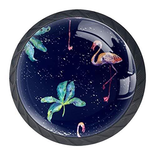Pomelli in vetro di design per armadi e cassetti, manopole per armadietti da cucina, maniglie per mobili, per decorare la casa, blu fenicottero verde foglia