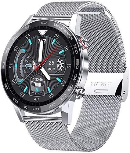 JIAJBG Reloj inteligente, pantalla de color de alta definición de 1.3 pulgadas pulsera inteligente multifunción Bluetooth deportes pulsera lujo acero exquisito/plata acero