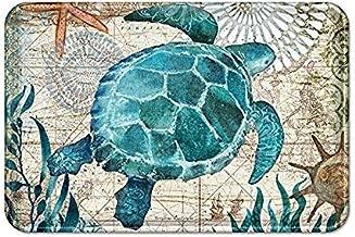 Indoor Doormat Super Absorbent Bath Mat Non Slip Shoes Scraper Entrance Rug Carpet,Sea Theme Bath Mat,Summer Ocean Life Blue Sea Turtle Coastal Navigation Map Bathroom Rugs for Shower Floors,18