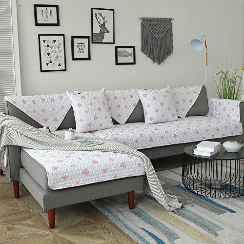 YUTJK Housse de Canapé d'angle avec Accoudoirs Housse de Canapé Modèle L Canapé Protecteur Évolutif,Couverture de canapé d'impression en Tissu de Salon-Rose 2_70×70cm