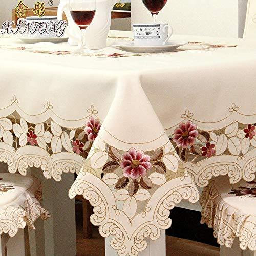 HXRA tafelkleden voor buiten, geborduurd rond tafelkleed, tafel, eettafel, afdekking voor bruilofttafel, stof, verdikt