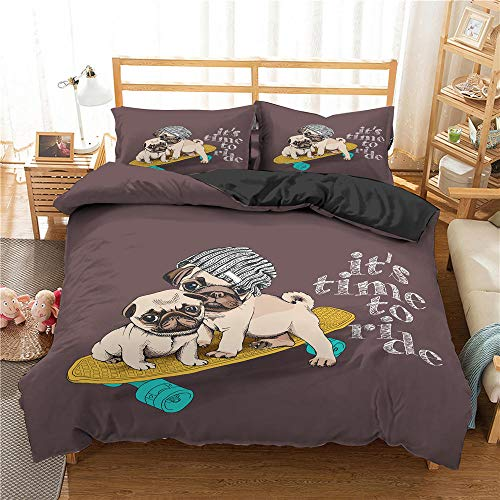 Rnvvaceo 3D Duvet Cover Set King size Cartoon animal dog Bedding Set Teen Bedding Home Dormitory Bedroom, 240 x 220 cm, 3D bedding