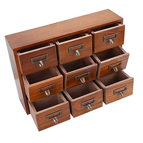Caja de almacenamiento de escritorio de madera, multicapa impermeable y a prueba de polvo Regalo de(5042-01-(Nine Draws)-Baked Color)