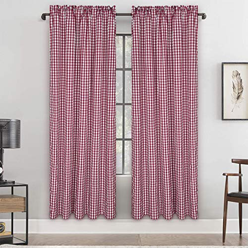 Buffalo Plaid Cotton Curtain, Red and White Check Window Curtain Panel, Gingham Rod Pocket Curtain Drapes for Farmhouse Bedroom Living Room Decor, Set of 2 Panels, 52 x 63 Inch Length
