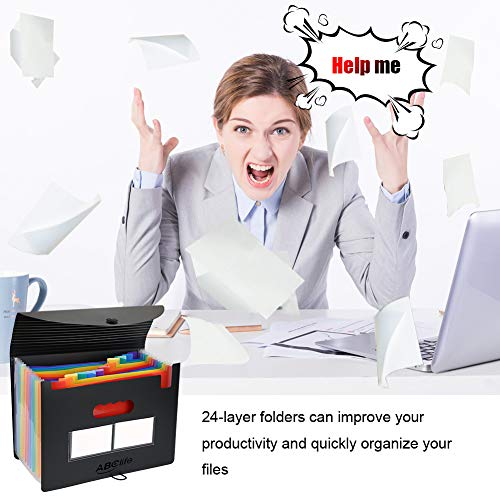 26 Pockets Accordian File Organizer/Plastic Expanding File Folder A4 Letter Size/Portable Expandable Filling Box/Accordion Document Coupon Bill Receipt Organizer (FF-6-26 Pockets) (FF-12Cover-2Pack) Photo #4