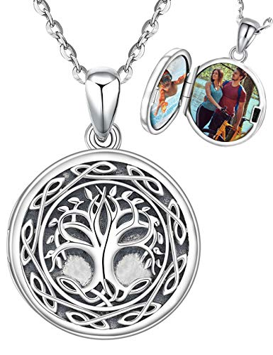 Aniu Tree of Life Locket Necklace for Girls Women Wife Girlfriend, That Holds Pictures Photo Keep Someone Near to You, 925 Sterling Silver Personalized Locket Oxidized Celtic Pendant Jewelry