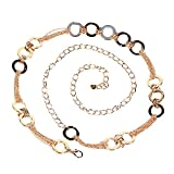 CLARA Women Fashion Metal Chain Dress Belt Skinny Waist Belt Decoration Accessory Gold