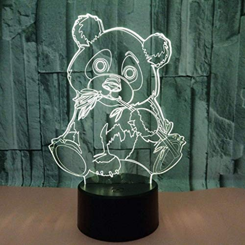 Hammer Fashion personality creative colorful visual lights Optical 3D Panda,Glow Lighting Nightlight Room Decor Table Lamps (Panda)
