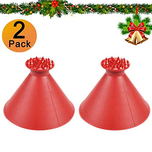 FEBSNOW Round Windshield Ice Scrapers - Magic Cone-Shaped Car Windshield Ice Scrapers, Car Snow Removal Shovel Tool (2 Pack)