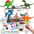Kids Dinosaur Painting Kit for Kids Dinosaur Toys, DIY Arts and Crafts Supplies Set -3D Painting Your Own Animal World Activity Kit w/ Kid-Safe Washable Paint, Brushes, T-Rex, Velociraptor and More
