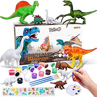 Pickwoo Dinosaur Painting Kit for Kids Kids Crafts 3D Painting Dinosaurs Toys STEM Kids Crafts and Arts Set DIY Easter Paint Dinosaur Animal Set Creativity Gifts Toys for 6 7 8 9 Years Old Boys Girls by Pickwoo