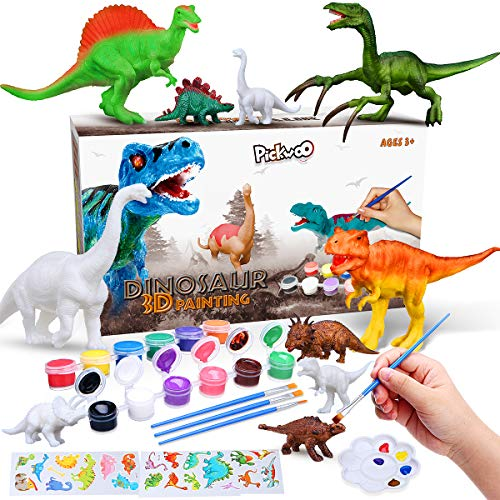 Pickwoo Dinosaur Painting Kit for Kids DIY Arts and Crafts Sets Paint Your Own 3D Painting Animal Dinosaur with 12 color Safe and non-toxic watercolor paint Gifts Toys for 6 7 8 9 Years Old Boys Girls