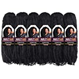 ToyoTress 6packs/lot Afro Kinky Curly Marley Braids Hair Extensions Synthetic Twist Crochet Braiding Hair (16', #1B)