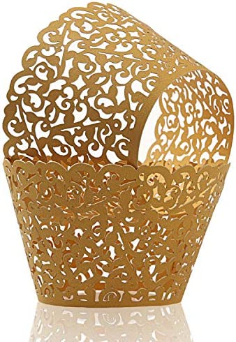 KPOSIYA Pack of 120 Cupcake Wrappers Artistic Bake Cake Paper Cups Vine Designed Laser Cut Cupcake product image