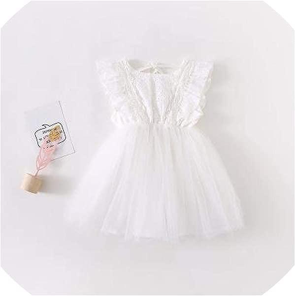 2019 Summer Korean Version Cotton Pure Color All Match Princess Lace Vest Bubble Dress For Cute Sweet Baby Girls White 18M
