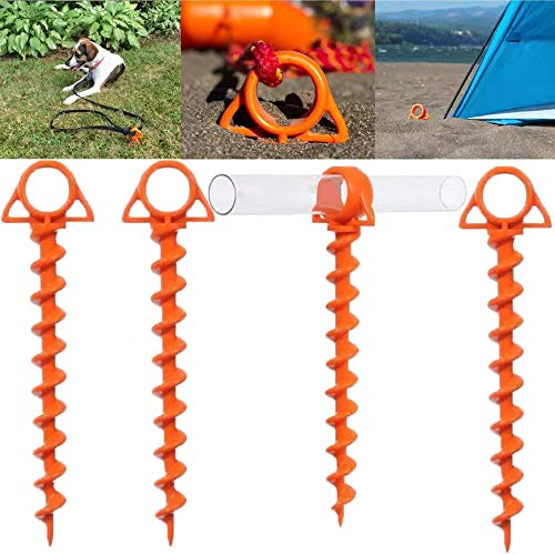 Heyzen Camping Tent Plastic Screw Shofar Ground Anchors Orange Screw The Ultimate Ground Anchor 12 Inch