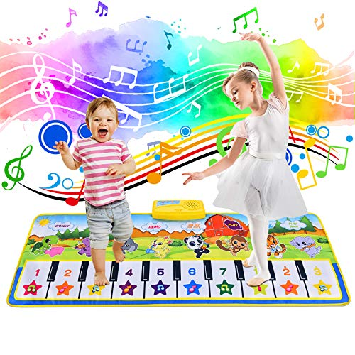 Tyhbelle Kids Musical Mat, Piano Mat Keyboard Music Mat Dance Floor Carpet Animal Music Blanket Early Education Toys for Baby Toddlers Boys Girls (39.5 X 14 in)